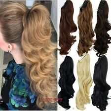 Ponytail Hair Extensions Synthetic Hair Wavy Claw Clip Hair Pieces as human f82