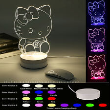 Room Decor 3D Optical LED Night Light Table Desk Lamp Color Change Hello Kitty