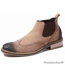 Mens Wing Tip suede Ankle Chelsea Boots Brogue Oxford England Dress formal Shoes