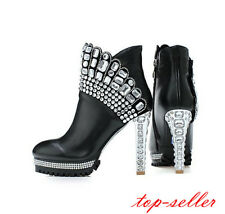 Rhinestone womens side zipper round toe leather high heel ankle boots shoes Size