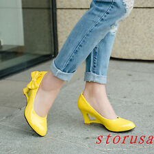Sweet Women Girls wedge Heel Bowknot Dress Shoes Dating Pull On Shoes Size 43#