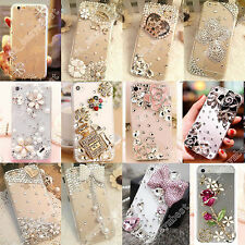 Transparent 3D Bling Clear Crystal Diamonds Hard Case Cover Skin For Samsung
