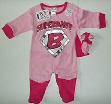 """Baby Girls Pink Sleepsuit + mitts with """"Super Baby"""" detail and detachable Cape."""