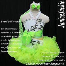 National Pageant Dress Glitz Cupcake White Lime Green 1-2, 3-4, 5-7, 8-10T