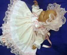 DREAM BABY PINK LACE DRESS BONNET NEWBORN 0-3 3- 6 MONTHS OR REBORN DOLLS