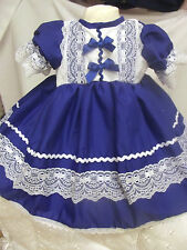 DREAM NEW ROMANY SPANISH ROYAL BLUE LINED FRILLY DRESS 0-3 months UP TO 6 YEARS