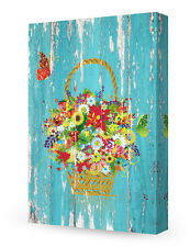 DecorArts-Canvas Prints Wall Art Happiness Flowers on Vintage wooden background