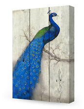 DecorArts-Canvas Prints Wall Art-Peahen on Vintage wooden background