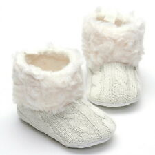 Infant Baby Girls Fleece Snow Boots Knitted Warm Winter Toddler Shoes Booties
