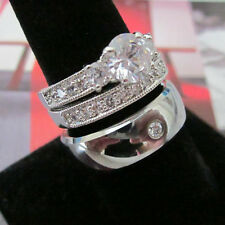 Wedding Ring Set - His Tungsten Silver Dome CZ & Her Classic Italian 2 Ring Set