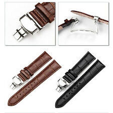 24 mm Leather Stainless Steel Butterfly Deployant Clasp Buckle Watch Band Strap