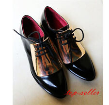 Gold Womens Lady Lace Up Oxfords Pointed Toe Low Heels Formal Dress Court Shoes