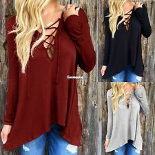 Women Ladies Cotton Blend Long Sleeve Shirt Tops Blouse T-shirt wonderful ES9P