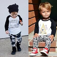 2pcs Toddler Infant Baby Boy T-shirt Tops+Long Pants Trousers Outfit Clothes Set