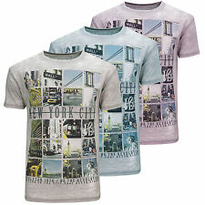 Mens Soulstar Crew Neck Burnout T-Shirt Discharge New York City Collage Print