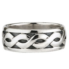 Celtic Knot Band Mens Sterling Silver Wide Irish Made