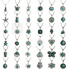 Women Vintage Tibetan Silver Turquoise Bib Crystal Pendant Fashion Long Necklace