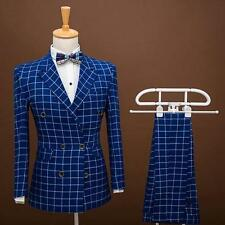 Mens Double Breasted Lapel Lattice Slim Fit Formal Dress Blazers Pants Suits New