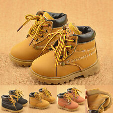 Winter Warm Kids Boys Girls Toddler Velvet Leather Martin Snow Boots Lined Shoes