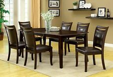 Contemporary Kitchen Dining Room 7pc Set Dark Cherry Dining Table Padded Chairs