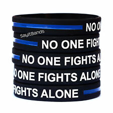 Ten (10) No One Fights Alone Thin Blue Line Wristbands - Show Police Support