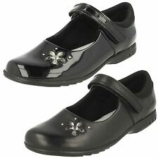 Clarks Girls Trixi Candy Black Leather Or Patent Strap School Shoes