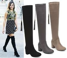 WOMENS LADIES THIGH HIGH OVER THE KNEE BOOTS MID BLOCK HEELS SEXY ROUNDED TOE