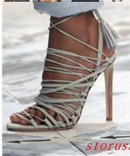 2016 Women High Stiletto Heel Open Toe Sandals Weave Lace Up Shoes Size New