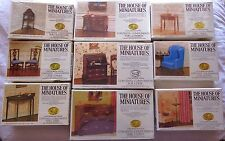 LOT OF DOLLHOUSE HOUSE OF MINIATURES 9 COLONIAL FURNITURE KITS, VINTAGE, MINT