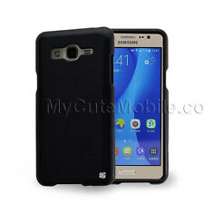Samsung Galaxy On5 G550 Case - Black Rubber Feel Hard Cover/Clear TPU Skin Pouch
