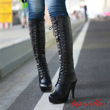 Size 34-43 Womens Leather Lace Up High Heel Knight Knee High Boots Shoes Fashion