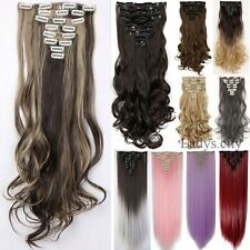 Mega Thick 18 Clips Clip In On Hair Extensions 8 Piece Human Full Head Hair FEC