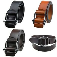 Mens Genuine Leather Buckle Belts Black Dark Brown Waist Strap Real Genuine Belt