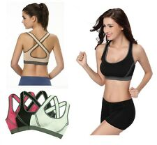 Ladies Sports Bra Fitness Padded Cups Firm Support Crop Top Active Wear 8 10 12
