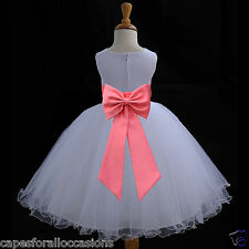 NEW WHITE PAGEANT FLOWER GIRL DRESS WEDDING 12-18m 2/3T 4/5T 6 6X 7 8 9 10 11 12