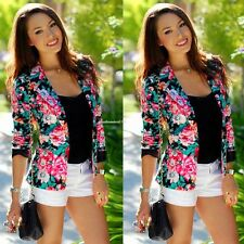 Fashion Womens Long Sleeve Floral Slim Blazer Suit Casual Jacket Coat Outwear