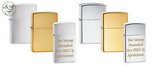 Personalised Engraved Chrome Brass Zippo Lighter Standard & Ladies Slim Size