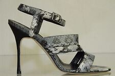 $925 NEW MANOLO BLAHNIK Grey Black SNAKE  Strappy Sandals SHOES bb heels 37
