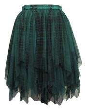 Dark Star Gothic Black Green Lace Net Multi Tier Witchy Hem Mini Skirt S-2X