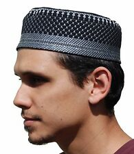 NEW Black Metallic Silver Thread Moslem Thinly Padded Embroidery Kufi Hat Cap