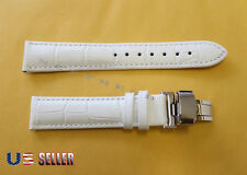HQ Genuine Leather White Watch Band With Butterfly Deployant Clasp Buckle