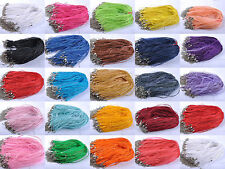 """10Pcs Organza Voile String Ribbon Cord Necklace Bracelet Lobster Clasp Chain 18"""""""