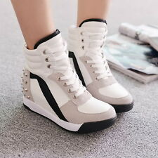 Womens High Top Rivet Girls Casual Trainer Boots Hidden Wedge Heel Sneaker Shoes