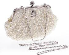 Vintage Beaded Pearl Rhinestone Evening Clutch Bag Party Wedding White