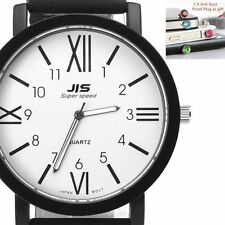 Women Men Stainless Steel Dail Leather Band Analog Quartz Sport Wrist Watch Gift