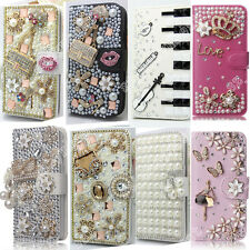 Bling Rhinestone Fitted PU Leather Card Holder Wallet Case Cover Pouch For Sony
