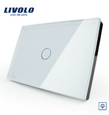 LIVOLO AC100-250V 1 Gang 1 Way Dimmer Touch Control Light Switch Glass US Type
