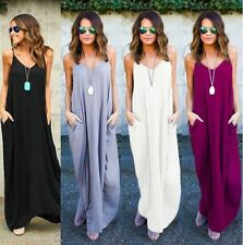 Lady Deep V Neck Maxi Dress Beach Halter Plus Size Sleeveless Loose Full Dress