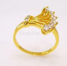 Women 24K Yellow Gold Plated Cubic Zirconia CZ Crystal Peacock Art Ring sz M O Q