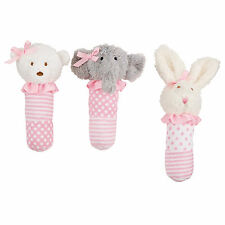 Mud Pie MH6 Sweetheart Baby Girl Princess Pink Plush Stick Animal Rattle 2112239